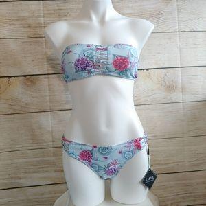 NWT Zaful Floral Bandeau Lattice Bikini M/6